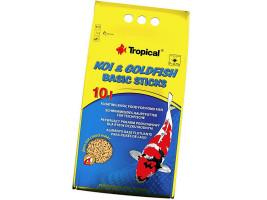 Сухий корм для ставкових риб Tropical в паличках Koi & Goldfish Basic Sticks 10 л (для всіх ставкових риб)